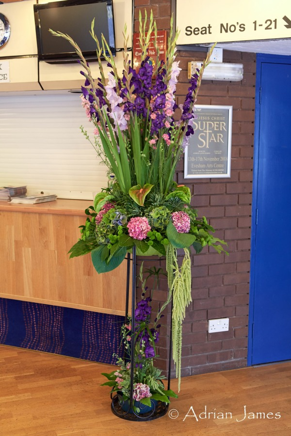 One of the floral decorations inside the Evesham Arts Centre
